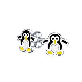 Bling Jewelry kids Arctic Penguin Enamel Stud earrings 925 Sterling Silver 8mm