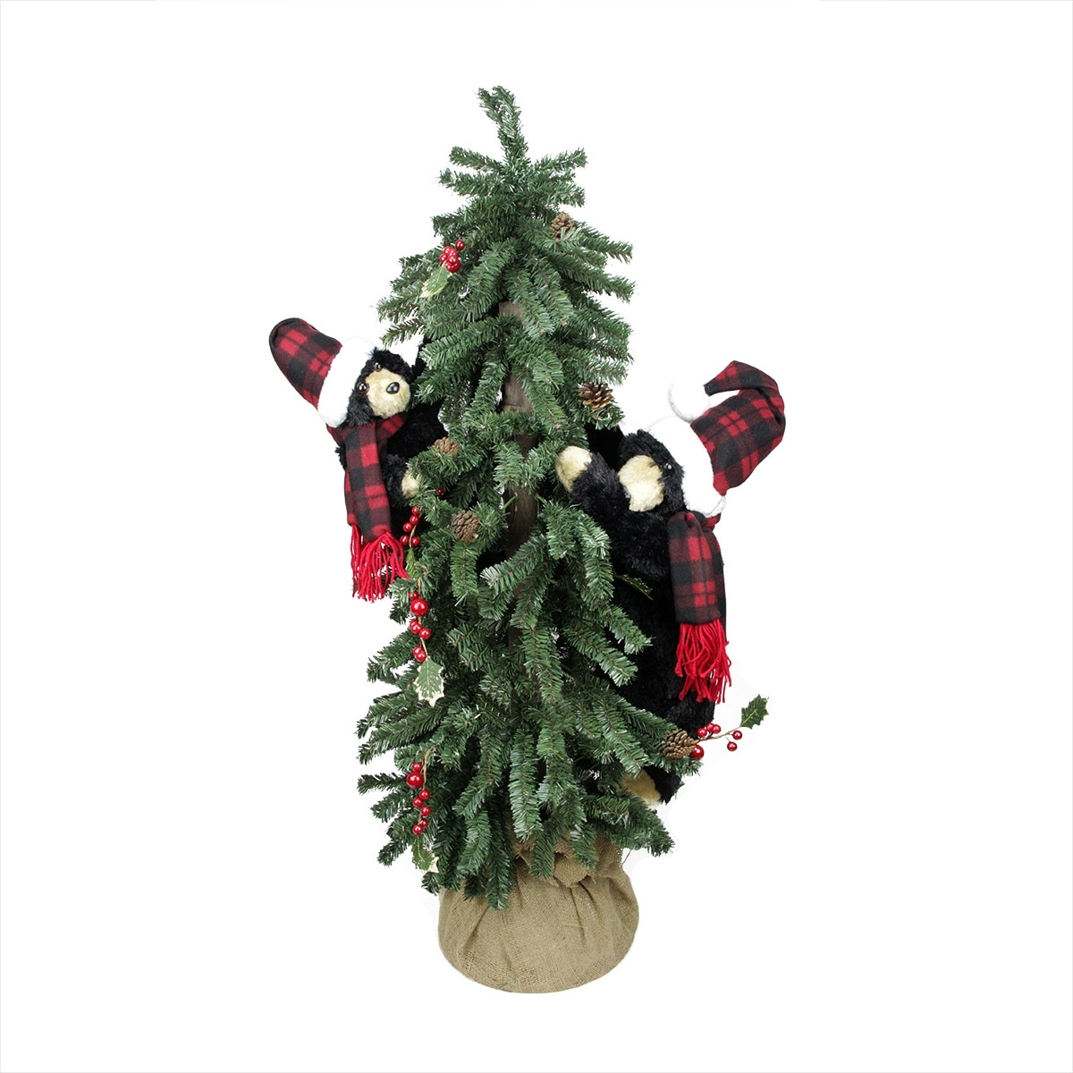 4 Country Rustic Artificial Alpine Christmas Tree In Burlap Sack With Black Bears Unlit Overstock 16540677