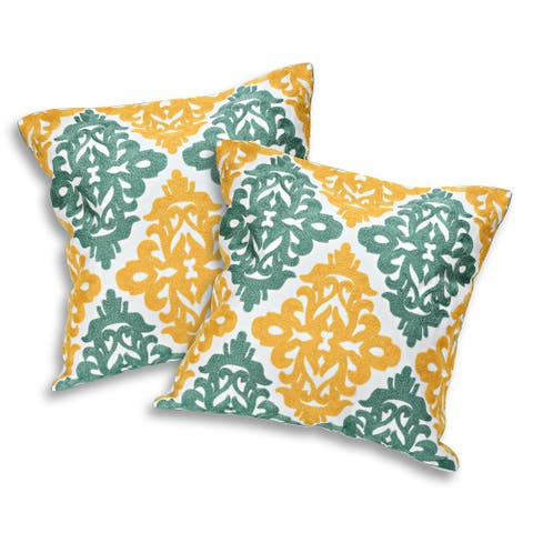 Handmade Decorative Damask Pattern Embroidery Pillow Cover Set of 2 (Thailand)