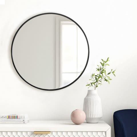 Modern Simple Thin Frame Wall-Mounted Vanity Round Mirror