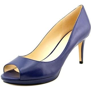 Nine West Gelabelle Women Open-Toe Leather Blue Heels