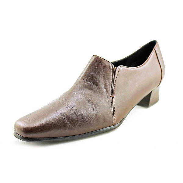 David Tate Sport Women Square Toe Leather Brown Loafer