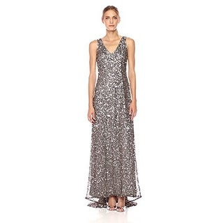 Adrianna Papell Sleeveless Sequin Beaded Gown V-Neck V-Back