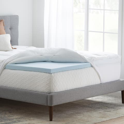 Brookside Pillow Top and 2-inch Gel Memory Foam Mattress Topper - Blue/White - Blue/White