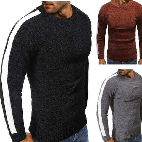 Men Sweater Pullover Round Neck Solid Color Cotton Long Sleeve Sweater