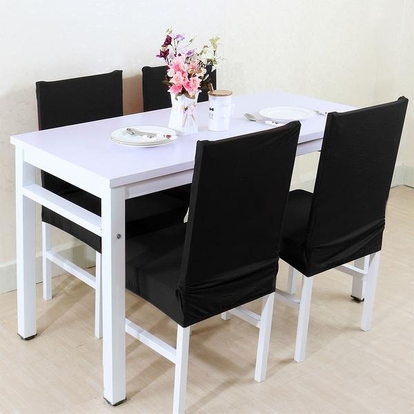 Unique Bargains Black Spandex Removable Short Dining Chair Cover