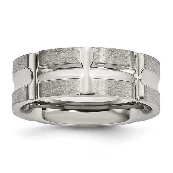 Stainless Steel Brushed and Polished Grooved Ring - Sizes 8 - 12