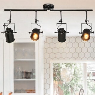 "Link to Rustic Spotlight 4-light Tracking Lights Black Ceiling Lighting - W 36.4"" x E4.7"" x H15"" Similar Items in Track Lighting"