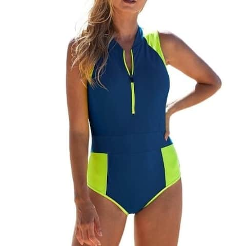 Half-Zip One Piece Swimsuit