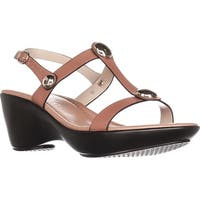 Callisto Toggle Low-Heel Comfort Sandals, Tan