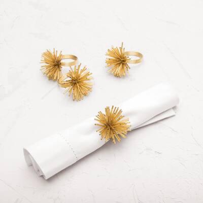 Spike Golden Napkin Ring Set of 4 - 1.5
