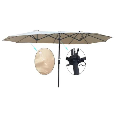 Nestfair Double-Sided Patio Umbrella Outdoor Market Garden Waterproof Twin Umbrellas