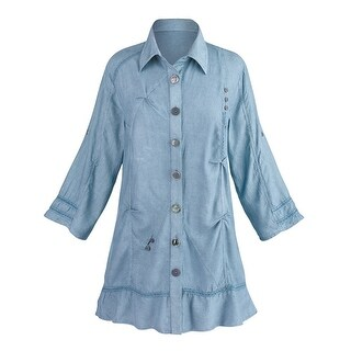 Women's Daphne Tunic Top - Button Down Front - Roll Tab Sleeve