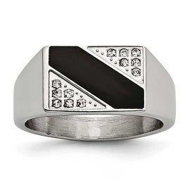 Chisel Stainless Steel Polished Black Enameled CZ Signet Ring (11 mm)