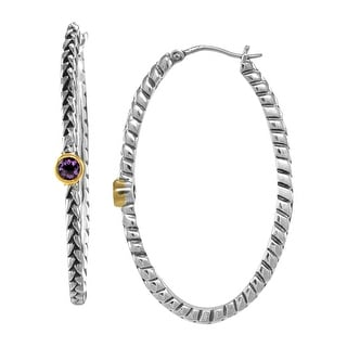1/5 ct Natural Amethyst Hoop Earrings in Sterling Silver & 14K Gold - Purple