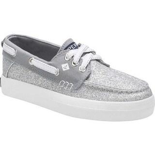 Sperry Top-Sider Girls' Crest Resort Boat Shoe Silver Glitter Textile