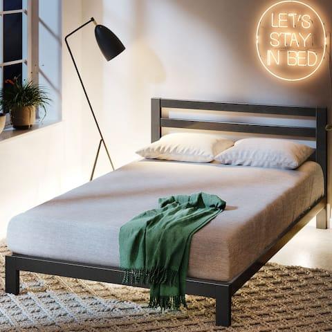 Priage by ZINUS Black Metal Platform Bed Frame with Headboard