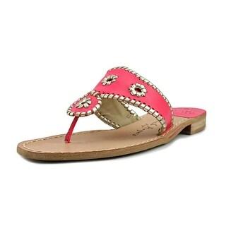 Jack Rogers Palm Beach Flat Women  Open Toe Leather Pink Thong Sandal