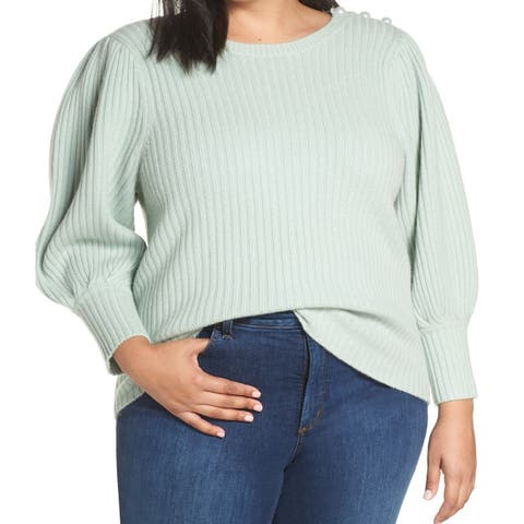 Halogen Womens Sweater Green Size 2X Plus Crewneck Balloon Sleeve
