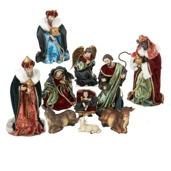 10-Piece Deluxe Religious Christmas Nativity Figure Set - multi