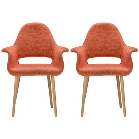 Set of 2, Mid-Century Modern Accent Chairs Natural Wood Fabric Armchair Orange