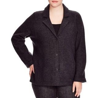 Eileen Fisher Womens Plus Jacket Notch Collar Merino Wool