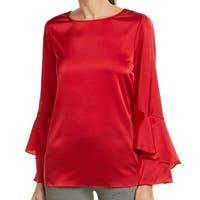 Tahari by ASL Red Women's Size Large L Ruffle Bell Sleeve Blouse