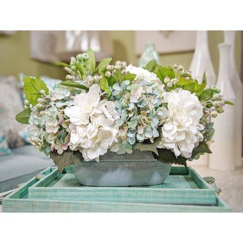 """Mixed Teal and White Hydrangea Bouquet in Wide Ceramic Vase 19""""L x 13""""H - 17X19X13"""