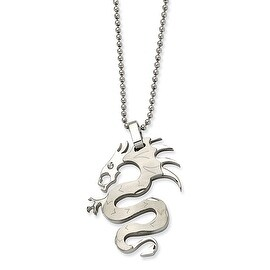 Chisel Stainless Steel Satin Dragon with CZ Pendant 22 Inch Necklace (1 mm) - 22 in