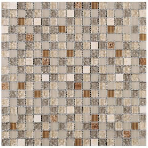 "TileGen. Mini Tiny 0.6"" x 0.6"" Glass Mosaic Tile in Beige/Brown Wall Tile (10 sheets/9.6sqft.)"