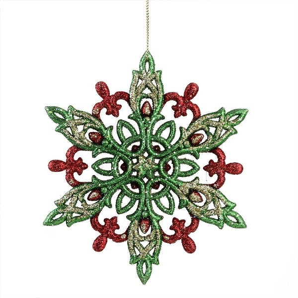 """4.75"""" Green, Red and Gold Glitter Snowflake Christmas Ornament - green"""