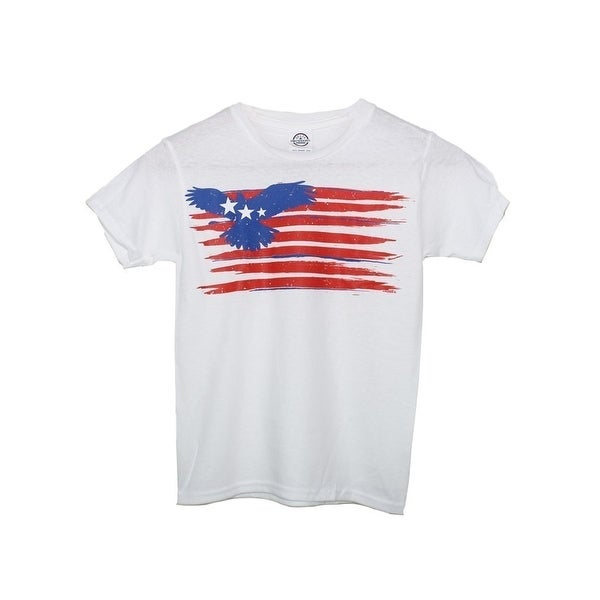 d928406e Unisex Kids White American Eagle Flag Print T-Shirt