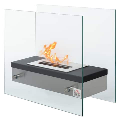 """HOMCOM Portable Table Top Ventless Ethanol Fireplace Indoor Outdoor Fire Pit, 18.5""""x 7.75"""", Silver and Black"""