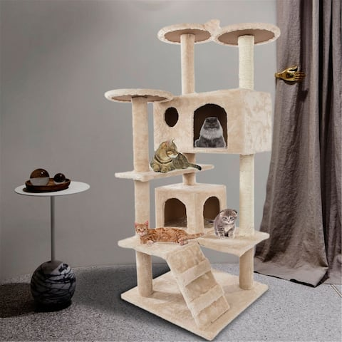52 Inches Multi-Level Cat Tree Stand House Activity Condos & Towers with Scratching Posts Pet Play House