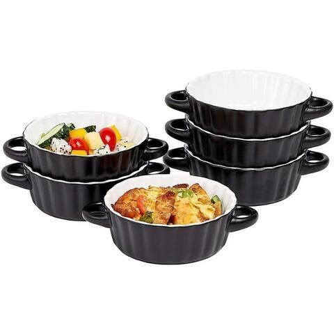 Bake And Serve - 10 Oz Oven Safe Set Of 6 Ceramic Souffle Dishes, Round Double Handle-Ramekins-Baking Mini Pie Dish w/Handles