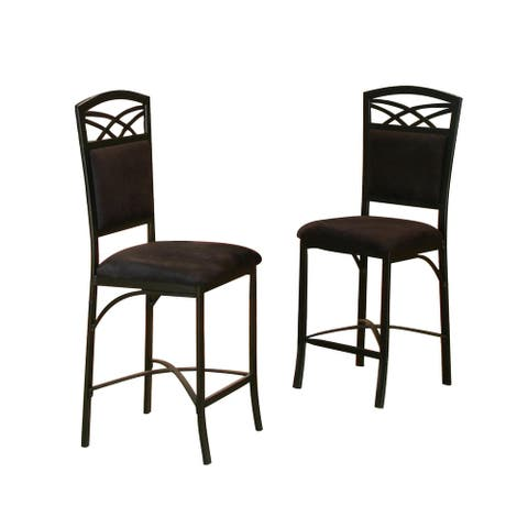 Set of 2 Sierra Soft Textured Black Microsuede Counter Height Bar Stool 43""