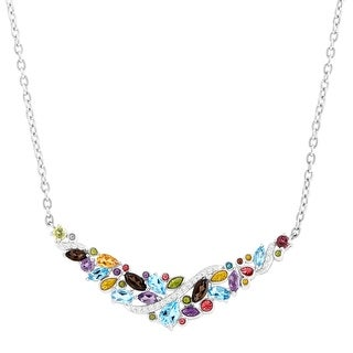 3 1/4 ct Natural Multi-Stone Garland Necklace in Sterling Silver - Blue