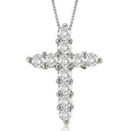 2.00 cttw. 14K White Gold Round Cut Diamond Big Cross Pendant (3 options available)