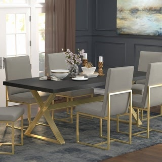 Link to Strick & Bolton Edmiston Dark Walnut/ Aged Gold Trestle Dining Table Similar Items in Dining Room & Bar Furniture