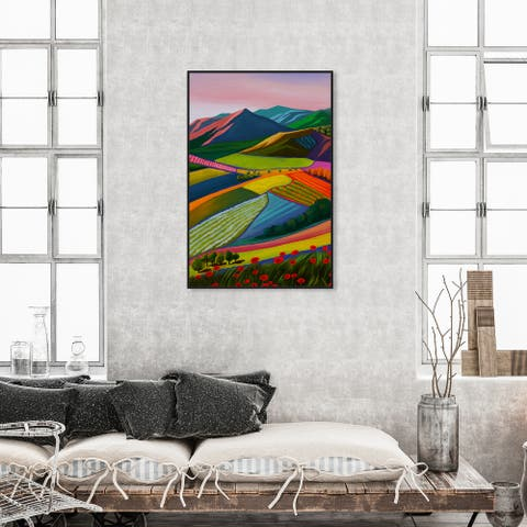 Oliver Gal 'My Bright Beautiful View' Nature and Landscape Wall Art Framed Canvas Print Mountains - Green, Purple