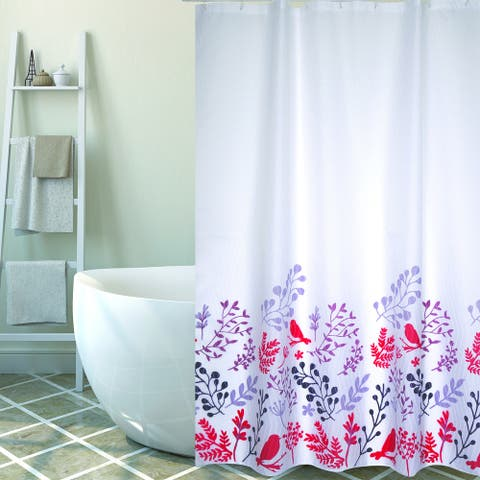 Extra Long Shower Curtain 72 x 78 Inch MSV France Polyester Fabric Birds Red