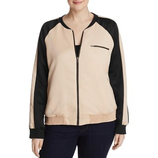 Junarose Womens Mista Bomber Jacket Long Sleeves Colorblock - 2x
