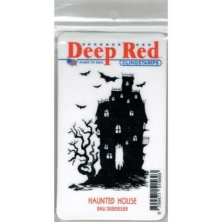 Deep Red Stamps Haunted House Rubber Cling Stamp - 2.1 x 3.2