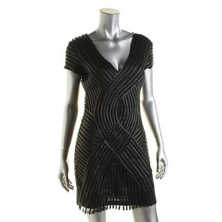 Parker Womens Fabiana Mesh Cap Sleeves Cocktail Dress