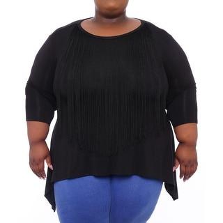 New Directions Embellished Fringe Neck Tunic Women Regular Tunic Top