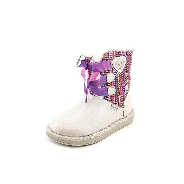 Stride Rite Disney Frozen Cozy Boot Toddler Round Toe Canvas Gray Winter Boot