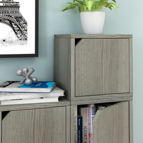 Way Basics Eco Stackable Connect Cube with Door, Modular Shelf Storage and Organizer, Grey