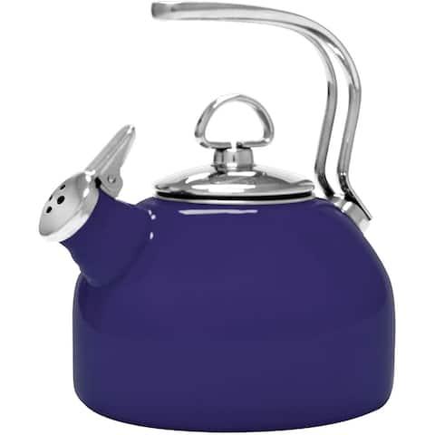 Chantal 37-18S-BL Classic Enamel-on-Steel Whistling Teakettle, 1.8 quarts, Cobalt Blue