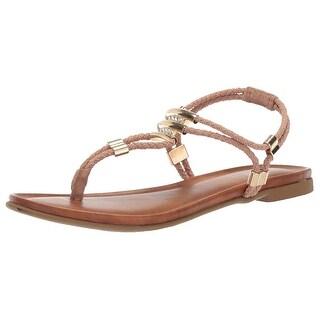 Topline Womens Tonya Fabric Split Toe Casual T-Strap Sandals