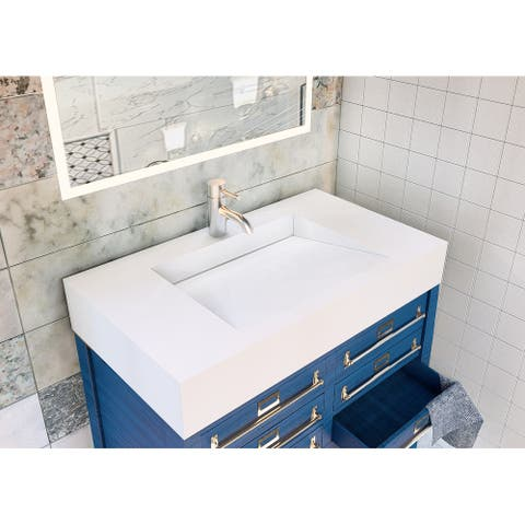 "Pyramid 36"" Solid Surface Bathroom Vanity Top"
